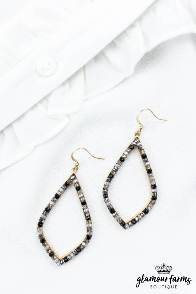 sku12944   Beaded Marquise Earrings