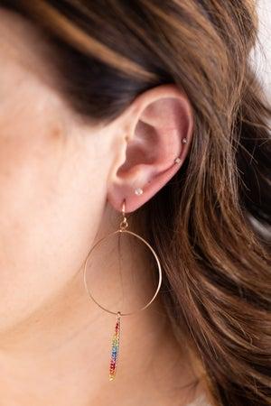 sku17072 | Paved Crystal Bar Drop Circle Earrings