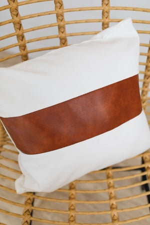 sku19372 | **Daily Deal** Faux Leather Striped Pillow Cover