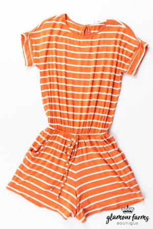 sku12919 | **Daily Deal** Striped Drawstring Romper