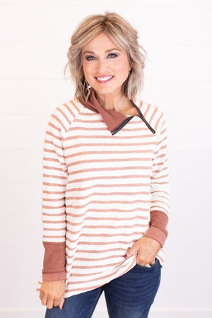 sku17409 | Striped Crossover Zip Tunic