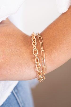 sku15790 | Oval And Circle Link Layered Bracelet