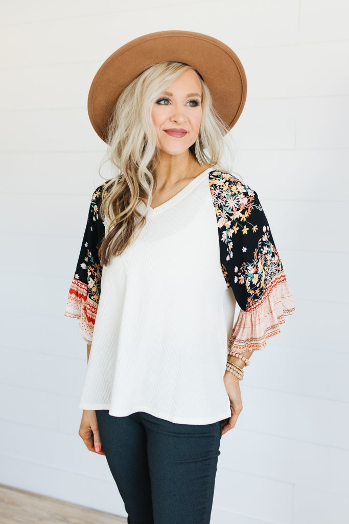 sku19841 | **Daily Deal** Ribbed Knit Floral Sleeve Top