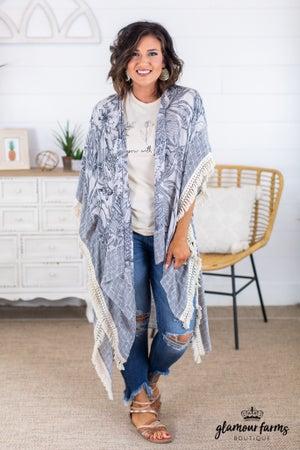 sku14955 | Tropical Print Kimono