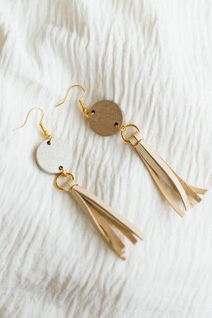 sku21334   Acrylic Disc Leather Tassel Drop Earrings