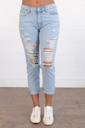 sku15738 | High Waist Distressed Boyfriend Jean