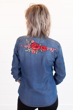 sku15914 | Floral Embroidered Denim Shirt