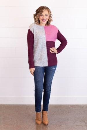 sku17686 | Color Block Ribbed Knit Sweater