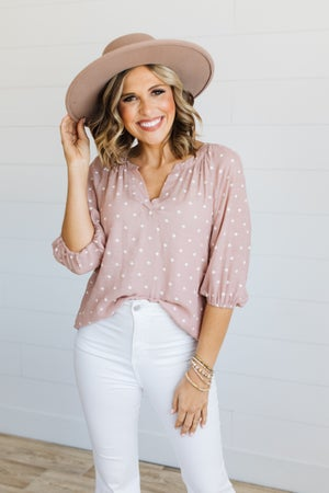 sku20045 | **Daily Deal** Moroccan Dot Split Neck Top