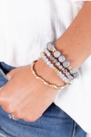 sku15776 | Stone and Metal Bead Bracelet