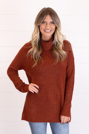 sku17604 | Ribbed Knit Cowl Neck Sweater
