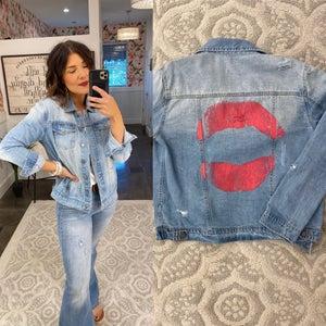 sku15529 | Pucker Up Graphic Denim Jacket