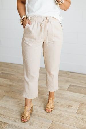 sku20109 | Linen Crop Drawstring Pants
