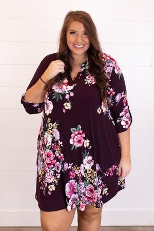 sku17201   Floral Tab Sleeve Dress