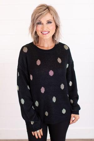 sku16465 | Metallic Polka Dot Sweater