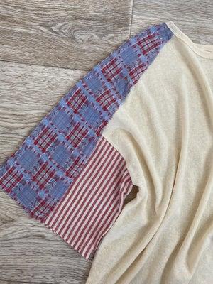 sku21157 | Slub Knit Mixed Print Sleeve Top