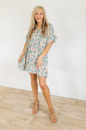 sku21440 | Floral Ruffle Sleeve Swing Dress