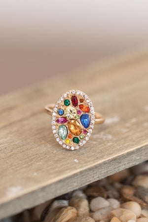 sku17047   Multi Bead Pave Oval Ring