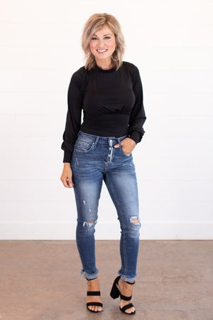 sku15910 | Distressed Button Fly Skinny Jeans