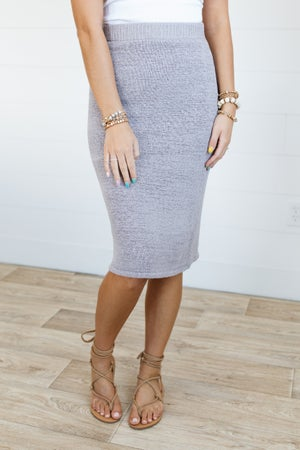 sku20914   Lined Textured Knit Midi Skirt