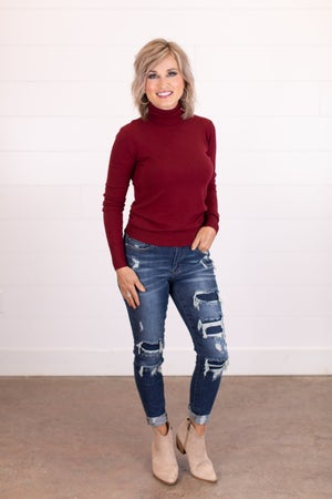 sku17529 | Mid Rise Patch Destroyed Skinny Jeans