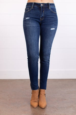 sku17489 | Mid Rise Distressed Split Hem Skinny Jean