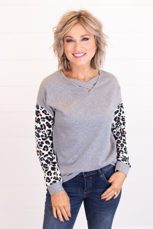 sku16673 | Criss-Cross Animal Print Sleeve Top