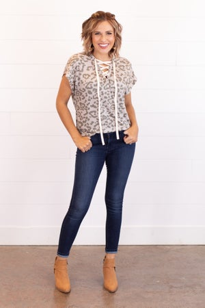 sku16747 | Animal Print Lace-Up Top
