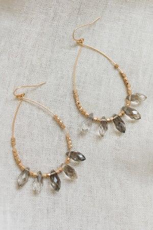 sku20249   Bead And Crystal Teardrop Earrings