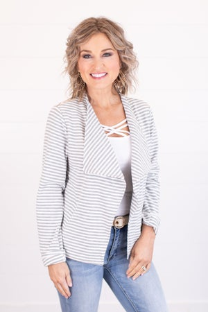 sku16949 | Open Front Striped Jacket