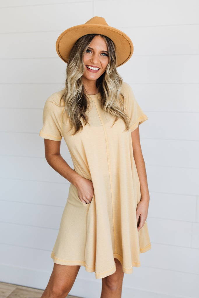 sku19211   Raw Edge A-Line Dress