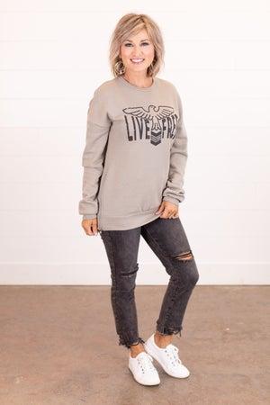 sku16639 | Live Free Side Zip Graphic Sweatshirt