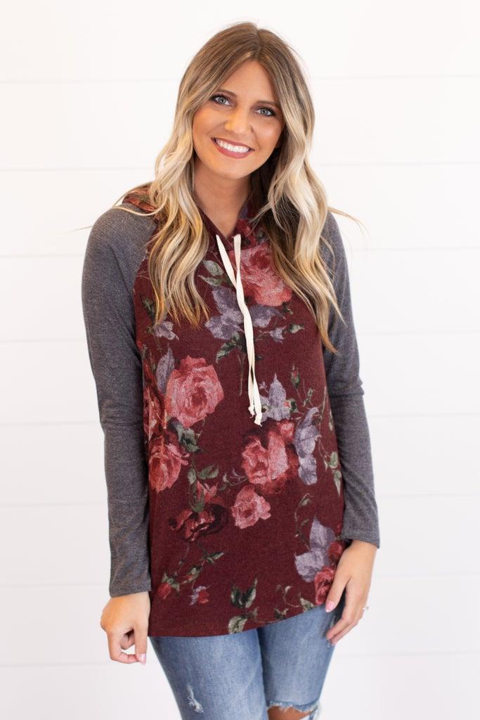sku16125 | Floral Hooded Top
