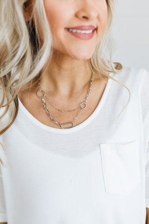 sku18592   Layered Chain Link Necklace