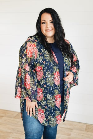 sku21432 | Floral Angel Sleeve Kimono