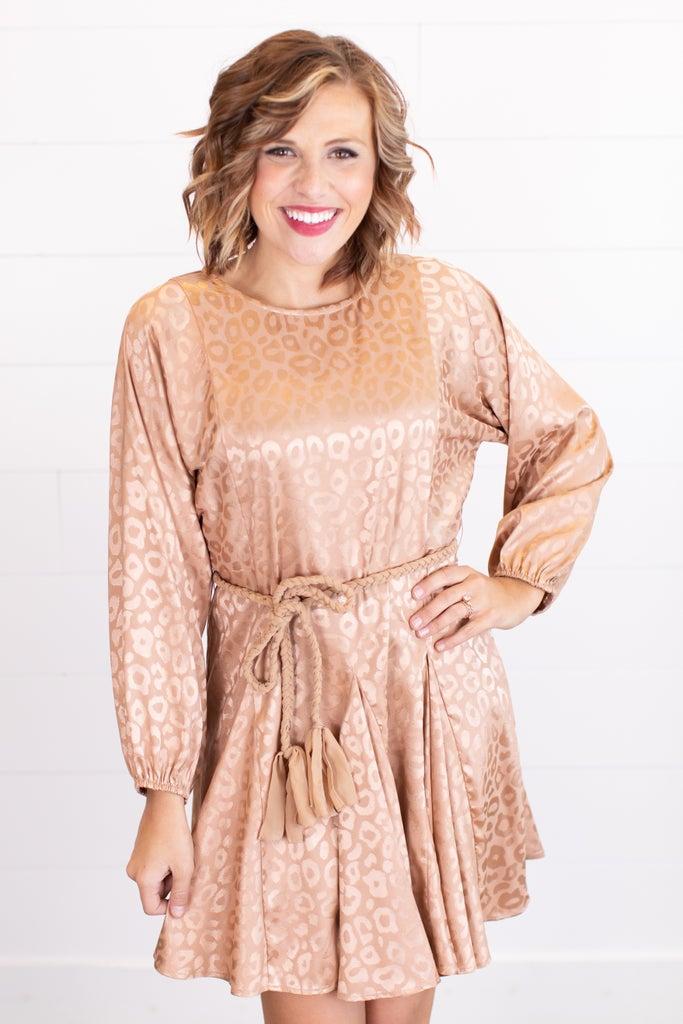 sku17728   Satin Tassel Belt Dress