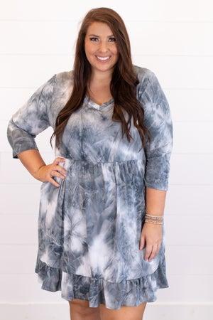 sku16704 | Tie Dyed Ruffle Hem Dress