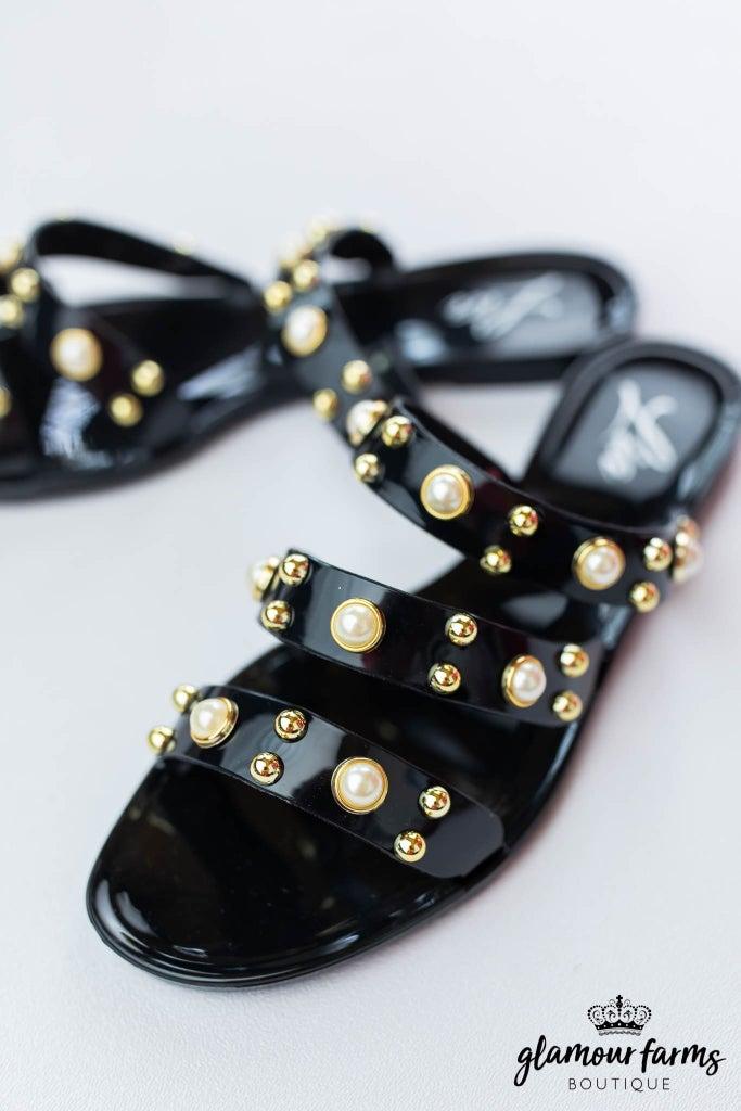 sku12837 | **Daily Deal** Pearl Studded Slide Sandal