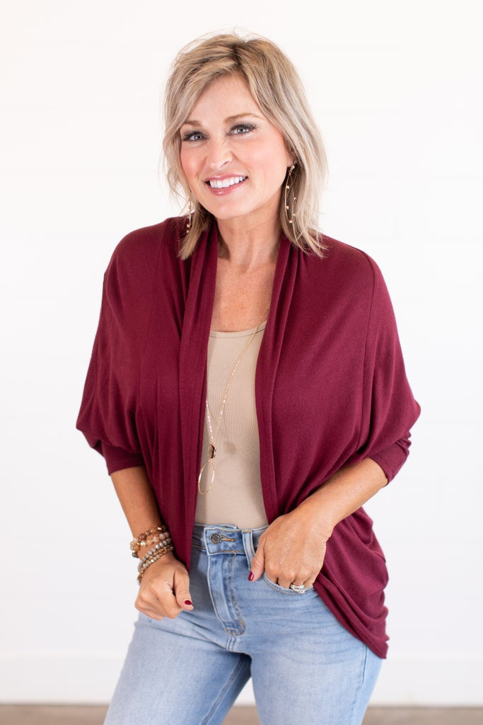 sku14092 | **Daily Deal** Brushed Knit Cocoon Cardigan