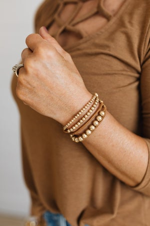 sku19641   Bead And Rope Layered Bracelet