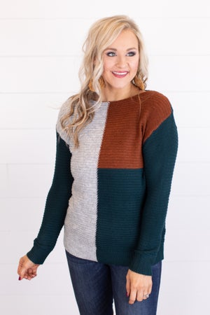 sku17687 | Color Block Ribbed Knit Sweater