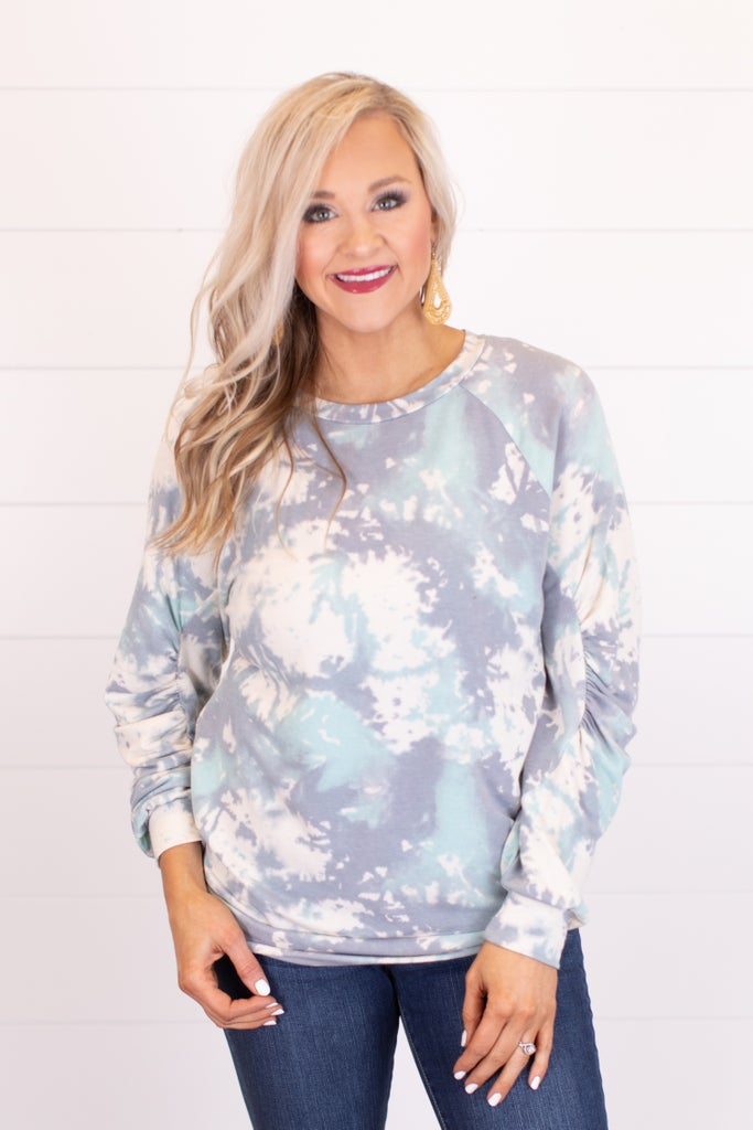 sku15464 | Tie Dyed Shirred Sleeve Pullover