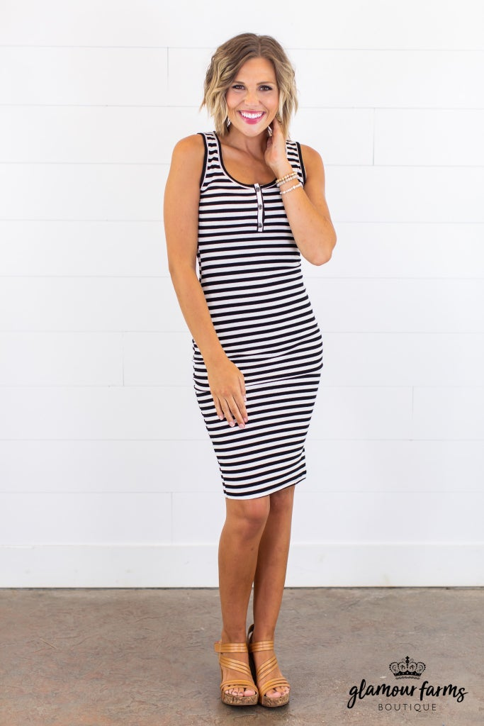 sku15051 | **Daily Deal** Striped Henley Midi Dress