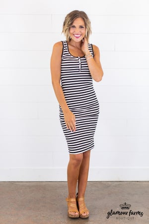 sku15051 | **Daily Deal** Striped Henley Midi Dress