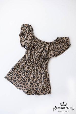 sku12649 | Animal Print Off Shoulder Romper