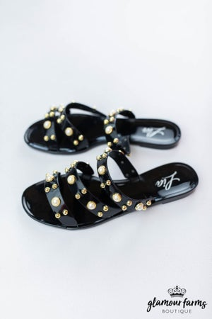 sku12837 | **Daily Deal** Pearl Studded Slide Sandal