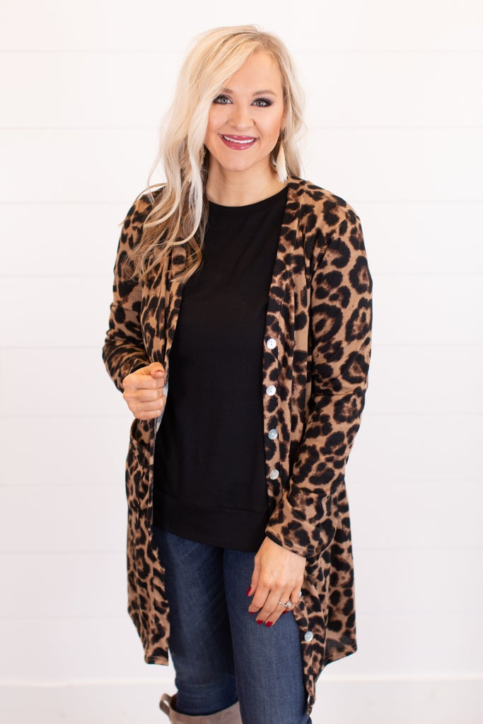 sku16370 | Animal Print Button Up Cardigan