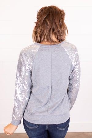 sku15615 | Sequined Sleeve Raglan Top