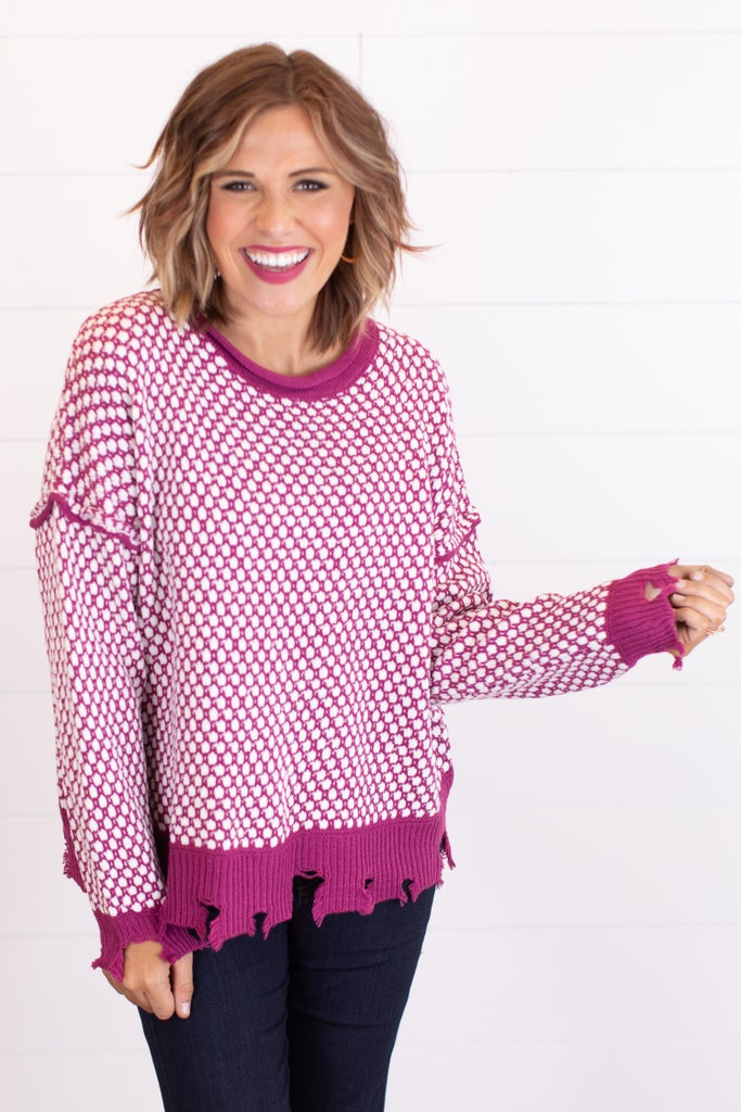 sku16527 | Distressed Textured Knit Sweater
