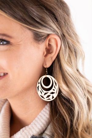 sku18006 | Laser Cut Round Wood Earrings
